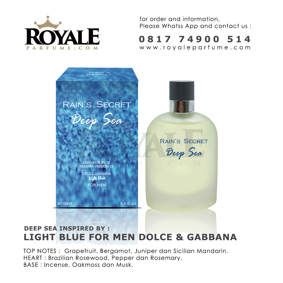 2.ROYALEPARFUME.COM RAIN'S SECRET PARFUM (USA) DEEP SEA INSPIRED BY LIGHT BLUE FOR MEN DOLCE AND GABBANA